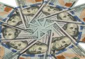 Bankovky dolarů v kruhu