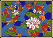 Stained with fish on the background of flowers and leavesVector