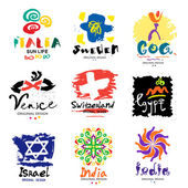 Logos of different countries A trip around the world Eastern and Western countries signs and symbols Design elements of the States and regions of the world