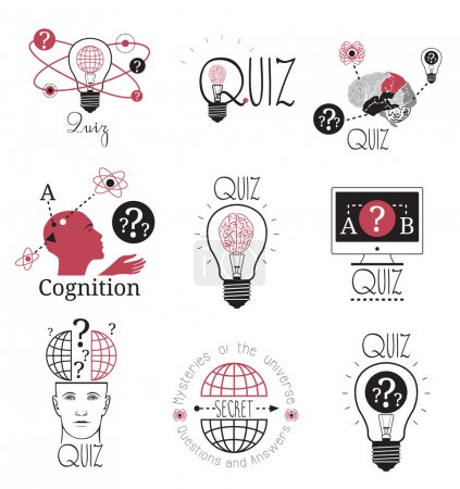Quiz logo emblems labels