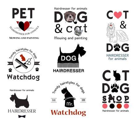 Hair salon for animals logo labels