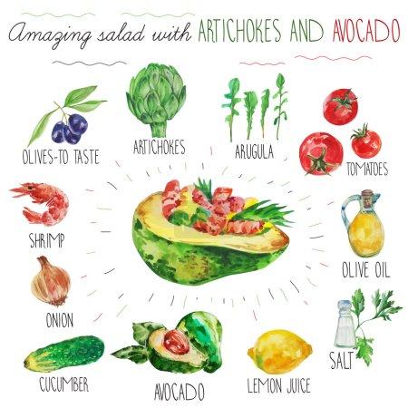 salad recipe with avocado and artichoke
