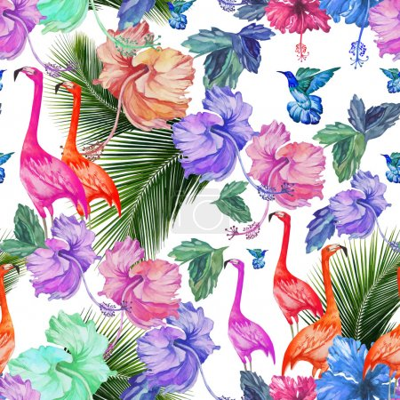 Illustration for Seamless pattern watercolor tropical flowers, palm tree and birds. Tropical pattern with flamingos and exotic bright colors - Royalty Free Image