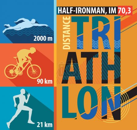 illustration of triathlon, flat design