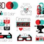 Vector set of symbols 3d cinema glasses...