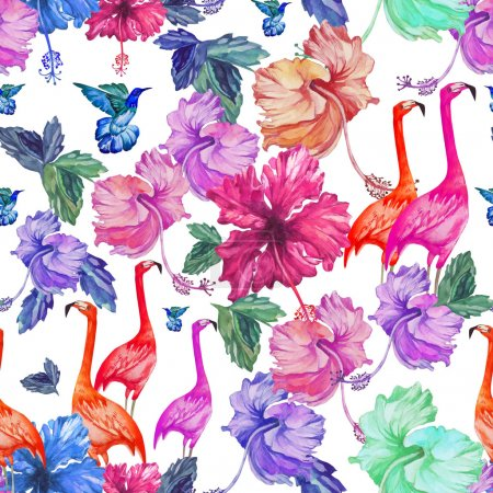 Tropical pattern with flamingo