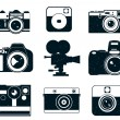 Set of vector camera icons isolated...