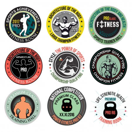 Set Bodybuilding and fitness gym logos