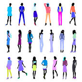 Set of colored female clothes
