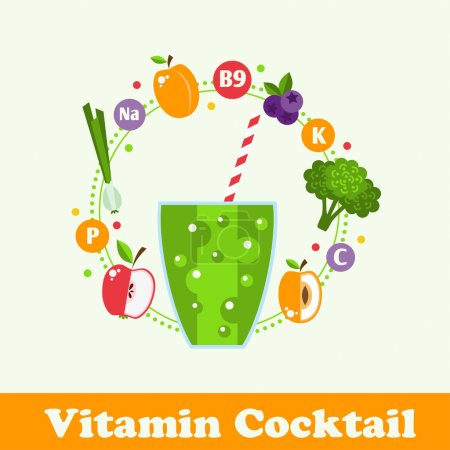 Illustration for Bright smoothie with fruits and vegetables. Illustration in Flat style. Vitamin cocktail recipe healthy lifestyle. vector - Royalty Free Image
