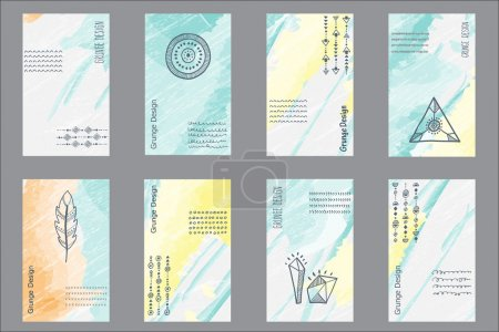 Illustration for Set of 8 creative universal cards. Hand Drawn textures. Trendy hipster retro backgrounds and ethnic pattern with triangles, circles and a semicircle. Vector - Royalty Free Image
