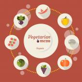 Set of vegetables icons into flat style Isolated objects Vegetarian concept healthy life Vector illustration