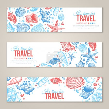 Summer Sea Shells Horizontal Banner Design