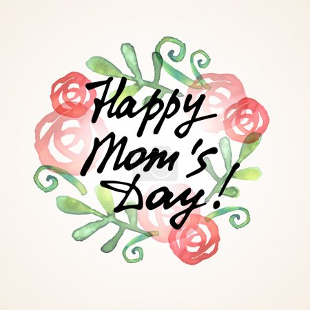 Happy Mom Day freehand lettering
