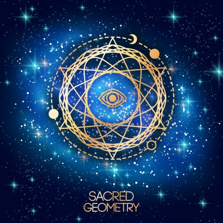 Sacred Geometry Emblem with Eye in Star