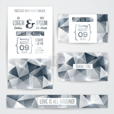 Wedding invitation cards template with abstract polygonal silver