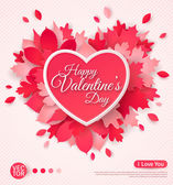 Beautiful greeting card with heart and leaves Happy Valentines day Vector illustration Typographic template for your text Paper cut leaf heart with shadows
