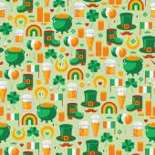 Patricks Day seamless pattern with traditional symbols Vector illustration Green clover leprechaun hat pot with coins Irish beer