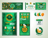 Set Of Happy St Patricks Day Greeting Card or Flyer Vector illustration Party Invitation Design with Emblem Typographic Template Patrick Day Menu Cover Design Eat Drink and be Irish