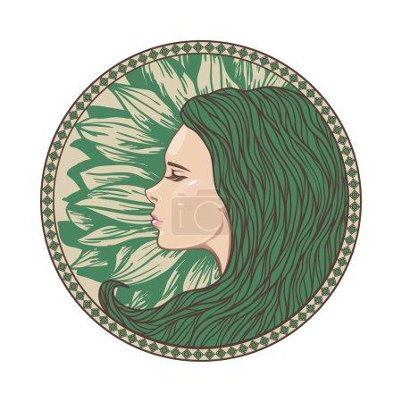 Vintage Girl Portrait in Ornate Circle Frame