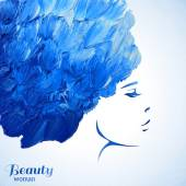 Watercolor Fashion Woman with Long Hair Vector Illustration Beautiful Mermaid Face Girl Silhouette Cosmetics Beauty Health and spa Fashion themes