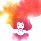 Watercolor Fashion Woman with Long Hair Vector Illustration Stylish Design for Beauty Salon Flyer or Banner Girl Silhouette Cosmetics Beauty Health and spa Fashion themes