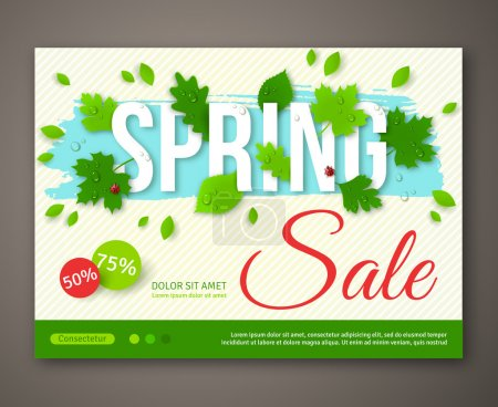 Spring Sale flyer design with green leaves. Vector illustration.