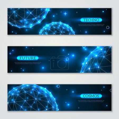 Banners set with wireframe polygonal elements.