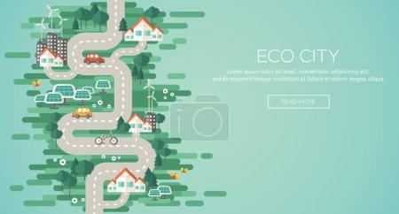 Flat Design Vector Illustration Concept of Ecology.