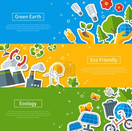 Environmental Protection, Ecology Concept Horizontal Banners Set