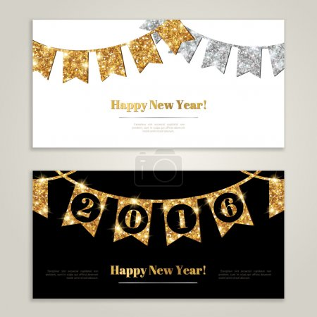 Happy New Year 2016 Banners Set with Flags Garlands.