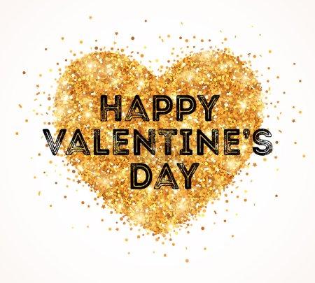 Sparkle Gold Glitter Valentines Day Heart