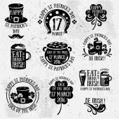 Set Of Happy St Patricks Day Typography Retro Style Emblems Vector illustration Irish Party Typographic Template Patrick Day Menu Cover Eat Drink and be Irish Black labels isolated on white