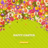 Happy Easter Background with Flat Icons on Circles