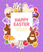 Easter Banner with Flat Icons and Square Frame