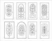 Classic interior and front wooden doors - simple vector for your design Icon set isolated on white
