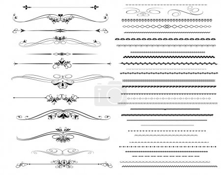 Illustration for Set ornamental rule lines in different design.Vintage  style. - Royalty Free Image
