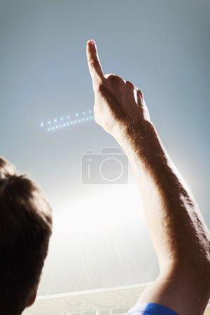Athlete cheering on the stadium
