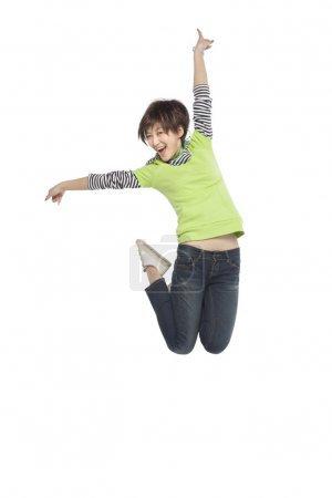 An excited woman jumping
