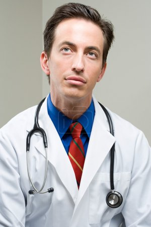 Doctor looking up