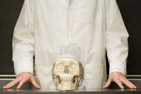 Student stood with human skull
