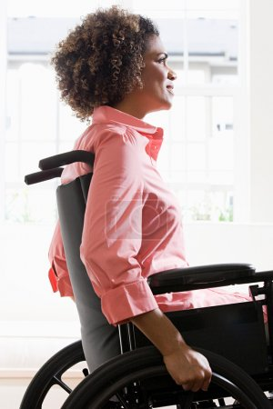 Side view of a disabled woman