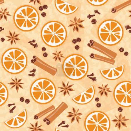 Pattern with mulled wine ingredients