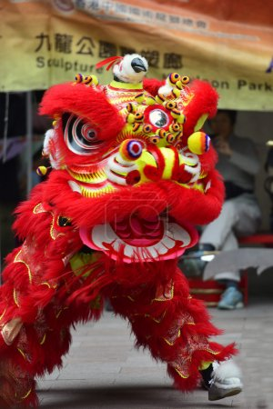 Photo for Lion dance is a form of traditional dance in Chinese culture - Royalty Free Image