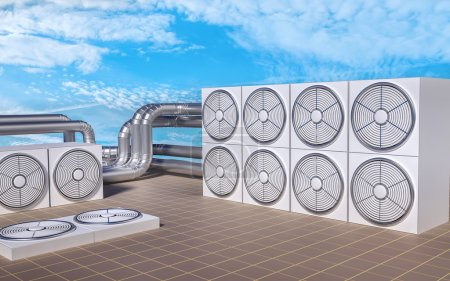 HVAC (Heating, Ventilating, Air Conditioning) units on roof. 3D illustration