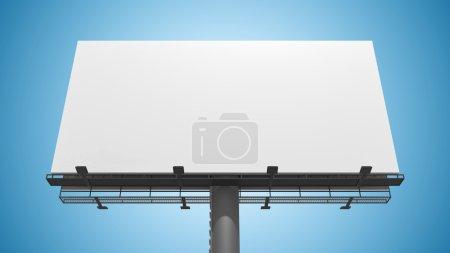Blank white billboard on blue background. 3D rendered illustration.