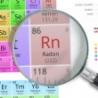 Постер, плакат: Radon Element of Mendeleev Periodic table magnified with magnifier
