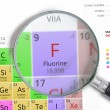Постер, плакат: Fluorine Element of Mendeleev Periodic table magnified with magnifier