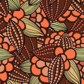 Vector illustration seamless pattern of stylized leaves and fruits of cocoa beans