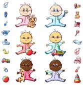 Vector illustration colorful baby sketch set Girl